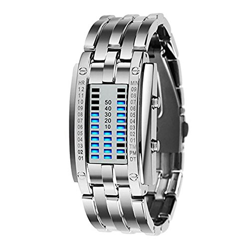 Sanwood Damen-Armbanduhr, Legierung, Datumsanzeige, digitales LED-Display Gr. One size, Blue LED/Silver Bracelet