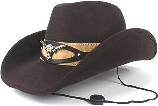 Women Men Elegant Wool Western Cowboy Cow Head Winter Cowgril Hat Felt Fedora Hat XGCCDAUha (Color : Brown, Size : 56-59cm)