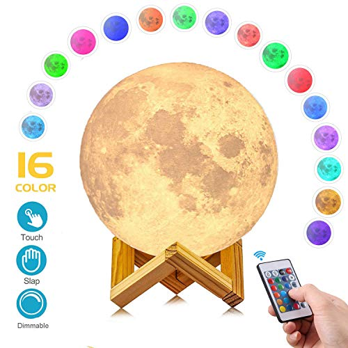 AED Moon Light Lamp with Stand, Slap & Touch & Remote Control, Color Changing, Dimmable, USB Recharge, LED 16 Colors RGB Lunar Lamp, Christmas Gift for Kid (5.9INCH)