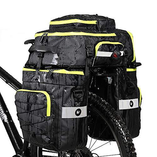 BAIGIO Borsa per Bicicletta 3 in 1 Borse Posteriori Bici Grande Portapacchi per Biciclette Impermeabile con Copertura Antipioggia (Verde)