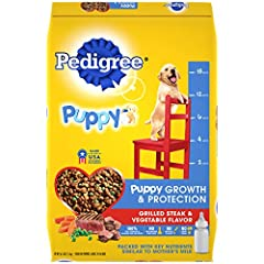 Contains one (1) 16.3 lb. bag of PEDIGREE Puppy Growth & Protection Dry Dog Food Grilled Steak & Vegetable Flavor Helps support brain development with DHA for your growing puppy Packed with key nutrients similar to mother's milk for puppies 6 weeks t...