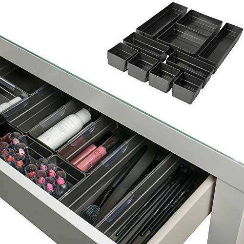 Hausfelder ORDNUNGSLIEBE Schubladen Organizer (10-teiliges Set) Ordnungssystem zur Aufbewahrung für Küche Büro Schminktisch Kosmetik, variabel und transparent aus Kunststoff
