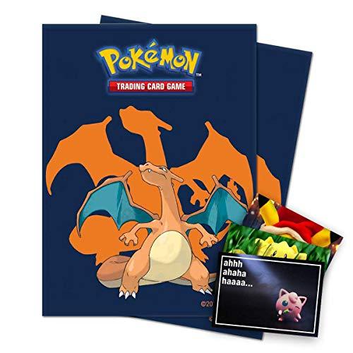 Lively Moments Pokémon Ultra Pro Standard - Fundas para cartas coleccionables (65 unidades, con diseño de Glurak, incluye tarjeta de felicitación gratuita)