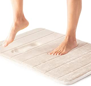 Gorilla Grip Premium Memory Foam Bath Rug, 24x17, Thick Soft Striped Bathroom Mat Rugs, Absorbent Mats, Machine Wash and D...