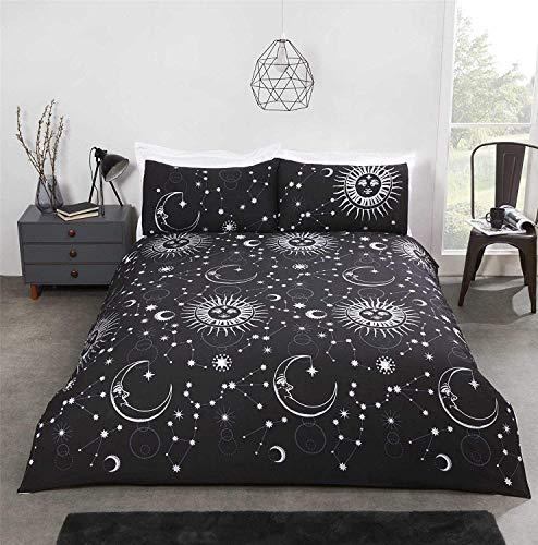 Celestial Suns Moons Stars Black Silver Cotton Blend Double Duvet Cover