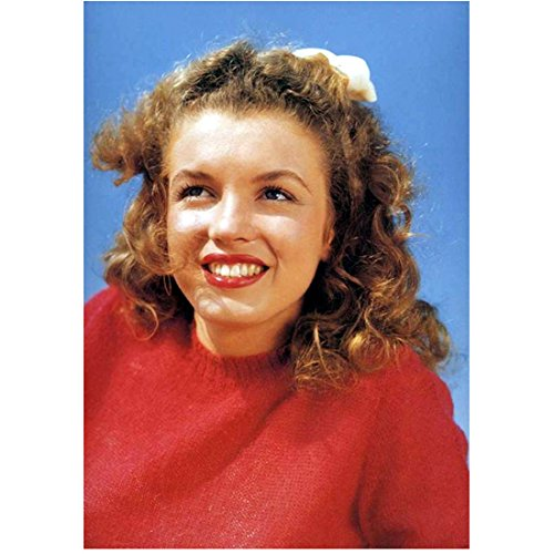 Marilyn Monroe Head Shot Younger Years Wearing Red Smiling 8 x 10 Inch Photo