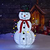 XUEYU 3.9ft Pop up Collapsible Flannel Lighted Christmas Snowman with Removable Hands&Scarf for Holiday Xmas Decorations