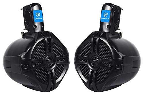 "Rockville RWB65B 6.5"" Black 2-Way 500-Watt Marine Wakeboard Tower Speakers"