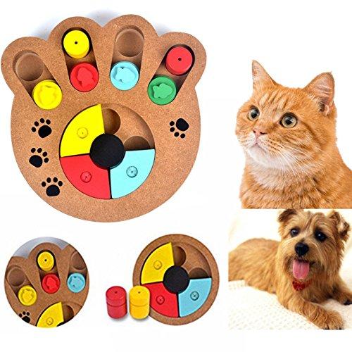 Cisixin Giocattoli per Animali Domestici in Legno, Gioco interattivo con Forme e Scomparti - Istruttivo e colorato, per Cani, Forma Stampe della Zampa