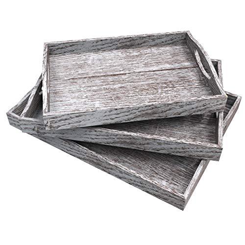 Bandejas de servir de madera rústicas con mango - Juego de 3 - Bandejas de servicio de anidamiento grandes, medianas y pequeñas - para desayunar, mesa de centro / bandejas de servicio de mayordomo