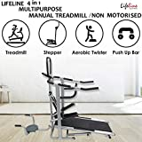 Lifeline 4 in1 Deluxe Manual Treadmill with Twister, Stepper & 3 Level inclination