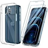 ivencase Funda Ultra híbrido Compatible con iPhone 12 Pro MAX Carcasa Trasera Anti-amarilleo con 2 Piezas de Vidrio Templado -Transparente