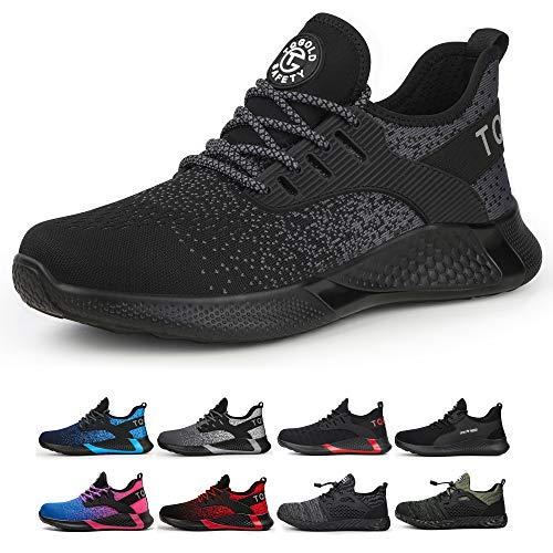 TQGOLD - Zapatos de seguridad para hombre y mujer S3, calzado laboral ligero de verano con puntera de acero Size: 45 EU
