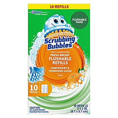 Scrubbing Bubbles Fresh Brush Flushables Refill, Toilet and Toilet Bowl Cleaner, Eliminates Odors and Limescale, Citrus Action Scent, 10ct