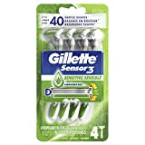 Gillette Sensor3 Sensitive Men's Disposable Razor, 4 Razors
