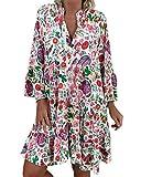 ORANDESIGNE Mujer Vestido Bohemio Corto Florales Nacional Verano Vestido Casual Manga Larga Chic de Noche Playa Vacaciones A Multicolor 42