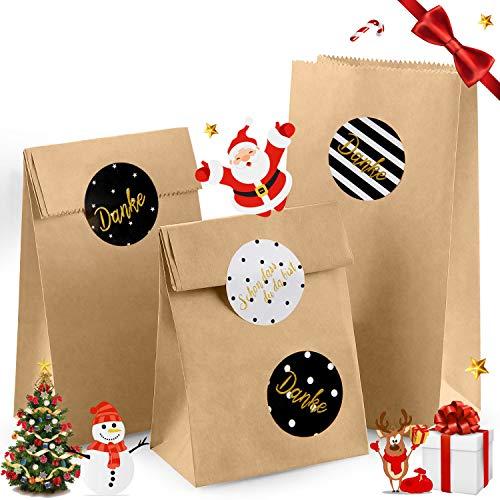 AODOOR Braune Papiertüten, 100 Kleine Kraftpapiertüten Papierbeutel Kraftpapier mit Sticker Weihnachten Geschenktaschen für DIY Adventskalender Geschenktüten, Hochzeit, Kindergeburtstag - 9x18x5.5 cm