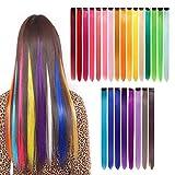 gotyou 24 Piezas Clip de Extensiones de Cabello liso Colorido,Pelucas de Clip Multicolor del arco Iris Extensiones de Cabello,Accesorios de Vestir para Fiestas de Cosplay para Niños(24 Colores)