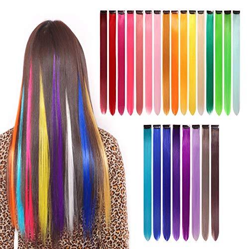 gotyou 24 Stück Bunte Haarverlängerungen Clip,Regenbogen Multi-Color Clip Perücken Haarverlängerungen,Perücken für Frauen und Mädchen Kinder Geschenk,Kinder Cosplay Party Dress up Zubehör(24 Farben)