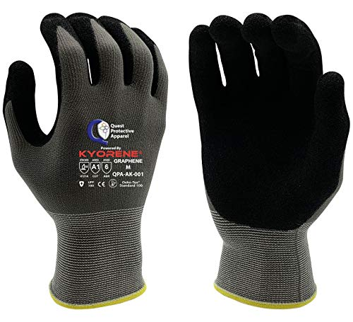 Quest Protective Apparel Powered By Kyorene- Cut Resistant Gloves - Protective Work Gloves - Working Gloves with GRAPHENE Grip (12, Medium)