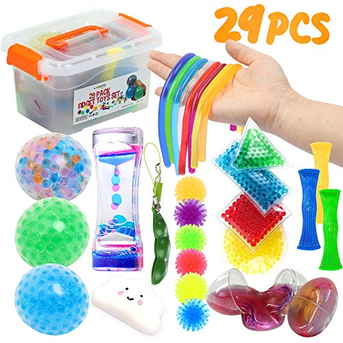 Fidget Toys Set 29Pack Sensory Relieves Stress & Anxiety Squeeze Toy for Kids Teens and Adults ADHD ADD Autism Fun Fidgeting Game for Classroom and Office with Slime Eggs Liquid Timer Marble Mesh