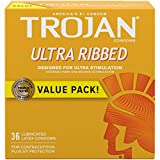 Trojan Stimulations Ultra Ribbed Lubricated Condoms, 36ct