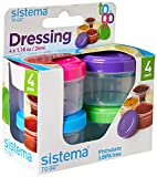 Sistema To Go Collection 1.18 Oz. Salad Dressing Containers, Pink/Green/Blue/Purple, 4 Pack, BPA Free, Reusable