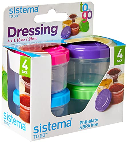 Sistema 21470 Dressing Pots TO GO   Food Container Sauce Pots with Lids   35 ml   BPA-Free   Blue, Green, Pink & Purple Lids   4 Count