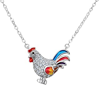 EVER FAITH Women's 925 Sterling Silver CZ Multicolor Enamel Rooster Animal Pendant Necklace Chain Clear