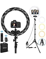 Selfie Ring Light with Tripod Stand, DERSECO 18 Inch LED Ring Light Kit 5500K Dimmable Ringlight with Remote, 3 Phone Holders & Ball Head for Photographer/Beauty Blogger, Makeup Video, TIK Tok