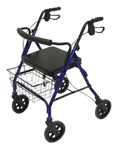 Days Heavy Duty Bariatric Rollator, 390 lb. Capacity, Small, Walker & Rest Seat for Elderly, Disabled, & Limited Mobility Patients, Walking Stabilizer for Post Surgery & Injury Individuals, Four Wheel