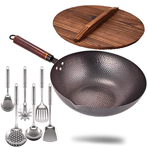 Carbon Steel Wok with Wooden Handle and Lid,using for Electric, Induction, Gas Stoves,6 Cookware Accessories,12.5...