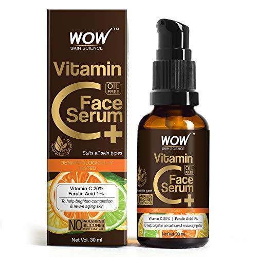 WOW Skin Science Vitamin C+(Plus) Face Serum - Vitamin C 20%, Ferulic Acid 1% - Brightening, Anti-Aging Skin Repair, Decrease formation of Fine Lines, Wrinkles & Brown Spots - 30 ml