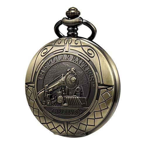 TREEWETO Reloj de bolsillo para hombre, diseño de esqueleto
