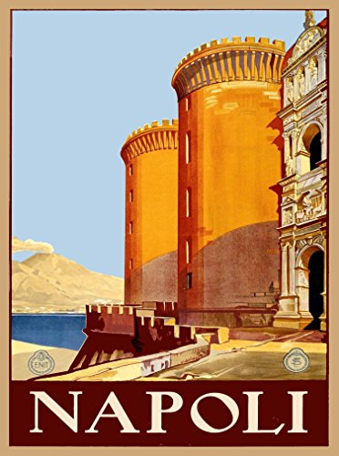 A SLICE IN TIME Napoli Naples Italy Bay of Naples Fortress Mt. Vesuvio Vintage Travel Advertisement Art Poster Print. Measures 10 x 13.5 inches