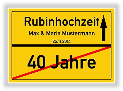 Unbekannt Geschenkidee zur Rubinhochzeit - 40 Jahre Verheiratet - Rubin Hochzeit - Ortsschild Bild Geschenk zum Jubiläum mit Namen und Datum