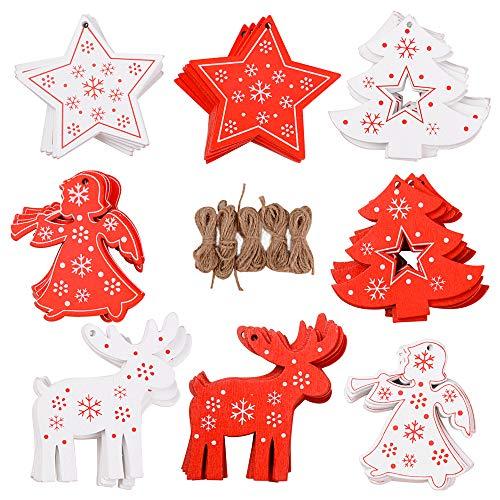 FLOFIA 48pcs Adornos Colgante de Madera Navidad Adornos Navideños de Madera Estrellas Árbol Ángel Reno Decoración de Navidad para Árbol Casa Puerta 8 Estilos Mixtos Rojo Blanco con Cuerdas de Cáñamo