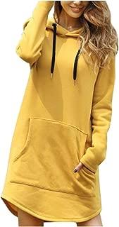 Women's Hooded Dress Tunics Pullover Hoodie Solid Knee Length Jumper Drawstring Sweatshirt Dress with Pocket