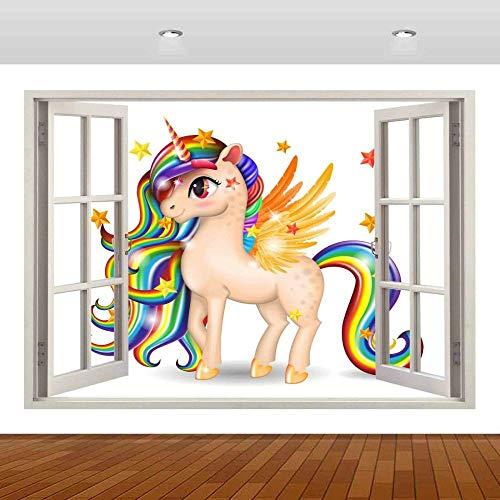 Pegatinas de pared Pegasus caballo blanco Animal 3D Mural calcomanía pared cartel vinilo dibujos animados anime 80x120cm