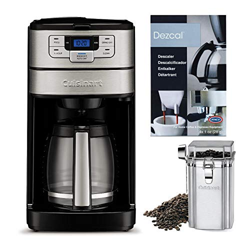 Cuisinart Automatic Grind and Brew 12-Cup Coffeemaker with Descaling Powder and Coffee Canister Bundle (3 Items)