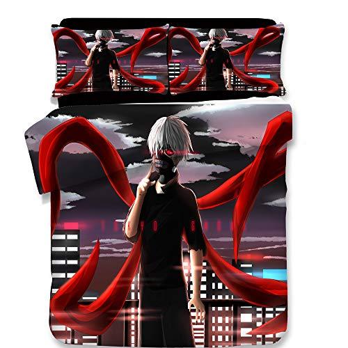 JSBVM 3D gedruckt Tokyo Ghoul Muster Bettwäsche Set 100% Mikrofaser Cartoon Kaneki Ken Bettbezug-Set mit Reißverschluss (1 Bettbezug 2 Kissenbezüge),AUSingle