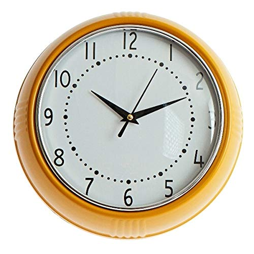 Kitsch Kitchen - Reloj de Pared, diseño de Cocina, Color Amarillo