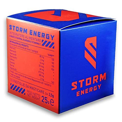 STORM ENERGY - INTEGRATORE ENERGETICO CON VITAMINA C,B1,B2,B3,B12, TAURINA, GUARANA  E CAFFEINA - 10 COMPRESSE PER 10 GIORNI DI ENERGIA