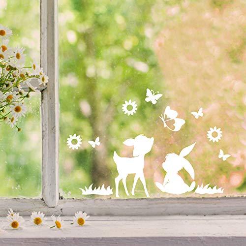 Fensterbilder Fensterbild Hase Reh Blumen Schmetterlinge wiederverwendbar Frühling Frühlingsdeko Ostern Fensterdeko M2457 - ausgewählte Farbe: *weiß* ausgewählte Größe: *8. Reh & Häschen*