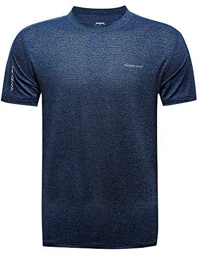 Aoli Ray Mens Gym T Shirt Sport Quick Dry Manica Corta Corsa Traning Allenamento Sportswear Top Navy (Strisce) XXL