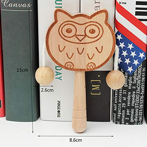 Find Discount XuBa Baby Shaking Rattle Wooden Hand Bell Drum Kids Musical Instrument Toy owl Gag Gif...