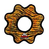 TUFFY - World's Tuffest Soft Dog Toy - MEGA Gear Ring - Squeakers - Multiple Layers. Made Durable, Strong & Tough. Interactive Play (Tug, Toss & Fetch). Machine Washable & Floats. (Tiger)