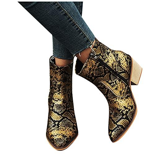 smilebuy Femmes Talon Carré Mi Talon Lacets Serpentine Low Tube Bottes Chaussures Femme Bottines Femme Casual Bottes Courtes Confort Bottines de Cheville Boots Antiderapantes Automne Hiver