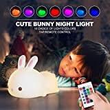 Kids Bunny Night Lights, Cute Lamp Silicone Baby Night Light,Color Changing Led Nightlight with Touch Sensor and Remote Control, for Kids, Children, Toddler, Baby, Girls