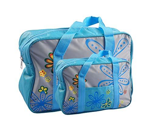 BURI Kühltasche 2er-Set Picknicktasche Einkaufstasche Picknickkorb Thermo Reisetasche, Farbe:blau